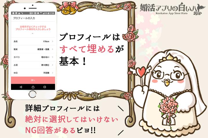 婚活マッチングアプリの詳細プロフィールNG回答